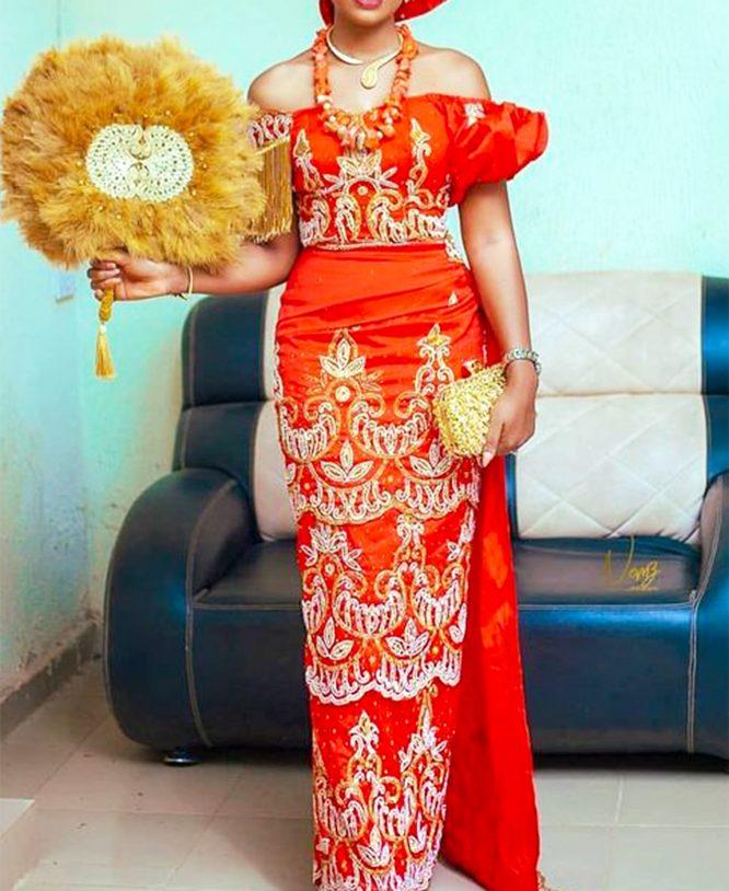 Nigerian Orange Embroidered Milk White Hand Work Raw Silk George Fabric