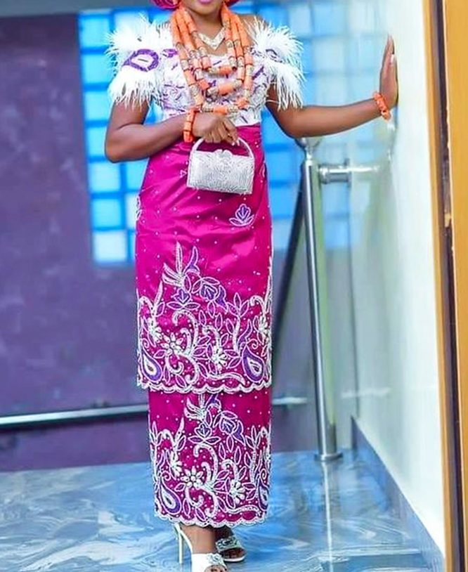 Heavy Beaded Purple Nigerian George Bazin with Blouse Fabric Silk George Wrapper