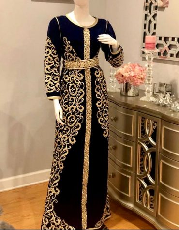 African Attire Moroccan Abaya Golden Embroidery Velvet Party Wear Dubai Kaftan