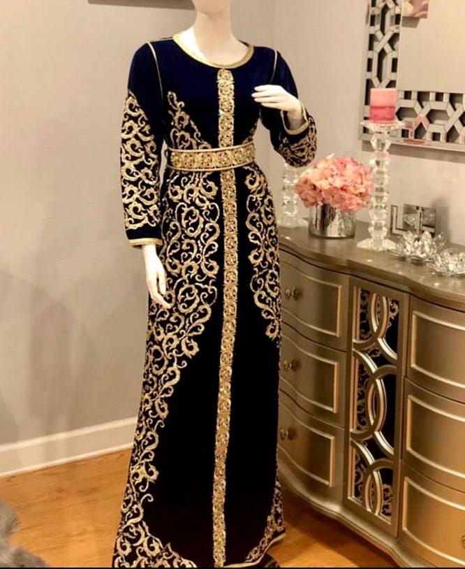 African Attire Moroccan Abaya Golden Embroidery Velvet Party Wear Dubai Kaftan
