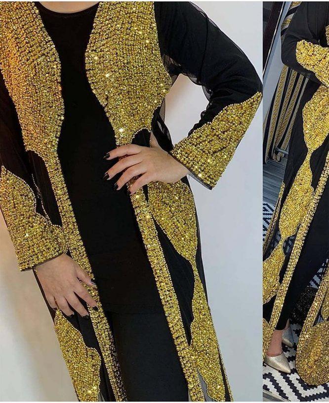 New Farasha Caftan Golden Beads Work Kaftan Jalabiya Dresses for Women