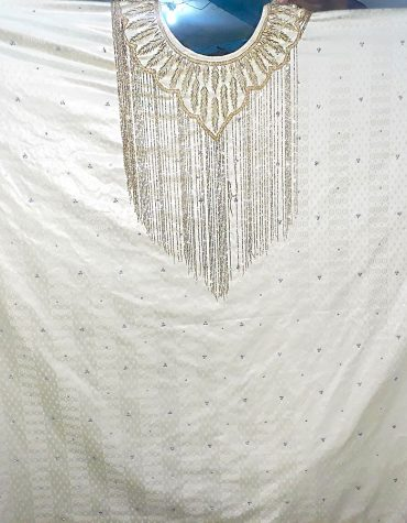 African White Bazin Riche Dress Golden Hand Work First Quality Guezner