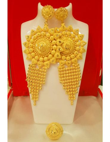 New Designer golden earring long shape wedding party set for Woman