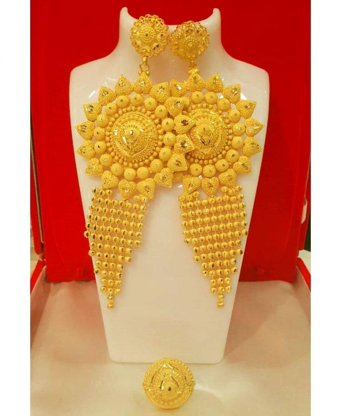 New Designer golden earring long shape wedding party set for Woman