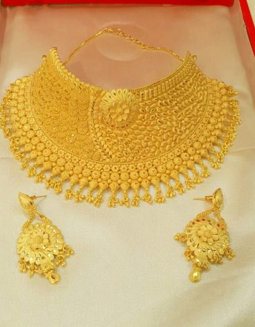 African 2020 Beads Jewelry Set Golden Plated Necklace for Woman