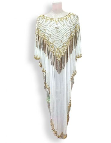 Boutiaue Indian Suits for Women Party Wear Plus White and Gold Kaftan Dress