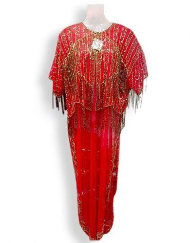 African Aniiq Women Dubai Farasha Kaftan Color Red Wear to Work Business Party