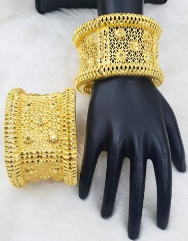 African Bold Designer Gold Tone Temple Cut Premium Bangle 2 Set