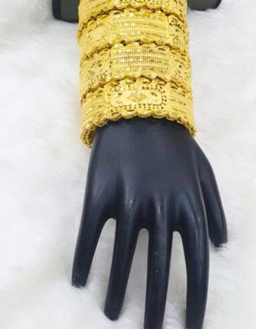 Stylish African Designer Golden Plated Premium Bold Bangle 4 Set