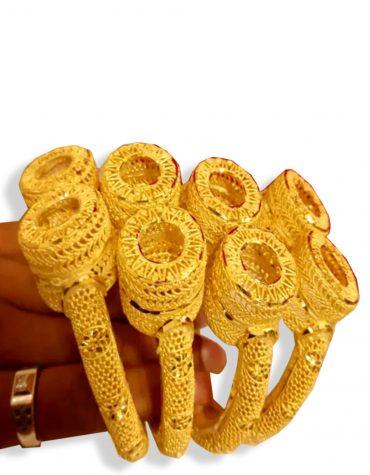 2020 New Stylish African Designer Golden Plated Bangle 4 Set