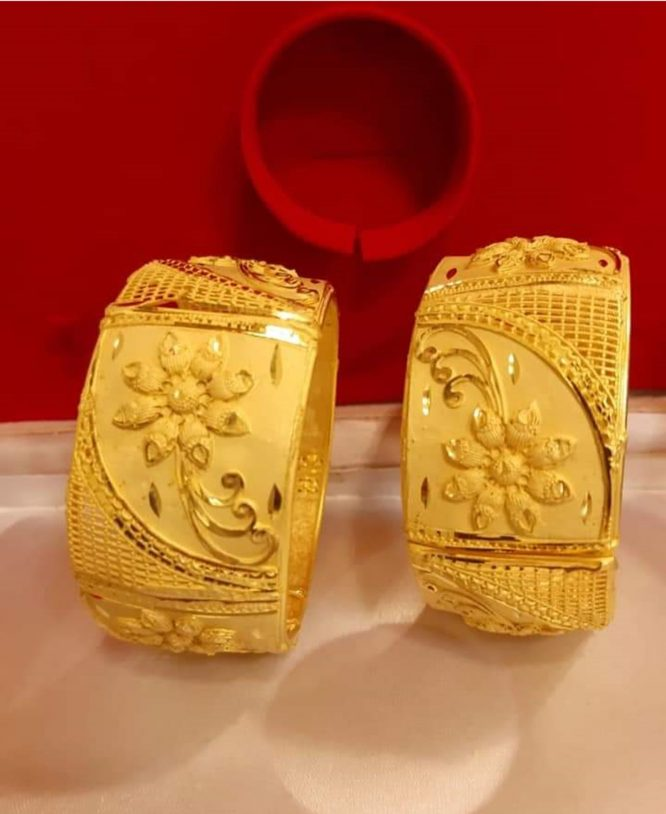 New Stylish African Designer 2 Gram Golden Plated Bangle Set