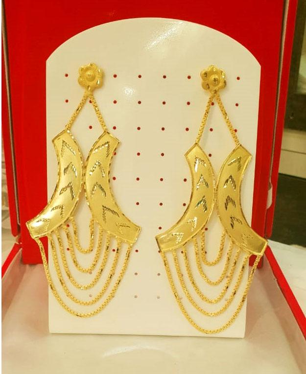 New Designer golden earring long shape wedding party set