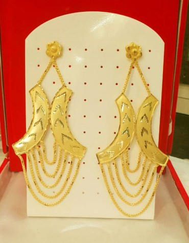 New Designer golden earring long shape wedding party set