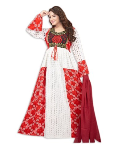 Stylish Embroidered Rayon Women Party Wear Long Stitched Exclusive Gown for Woman