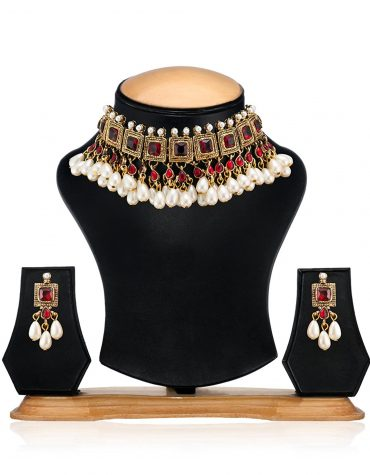 Kundan Pearl Drop Choker Necklace Set For Women