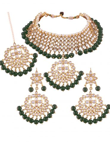 Traditional Kundan & Pearl Choker Necklace Set for Women