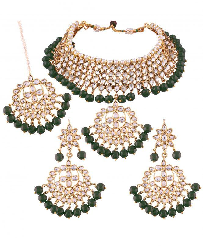 Traditional Kundan & Pearl Choker Necklace Set for Women