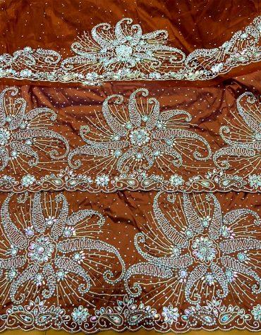 Coffee Brown Nigerian traditional Beaded George wrapper Silk Indian George Fabric