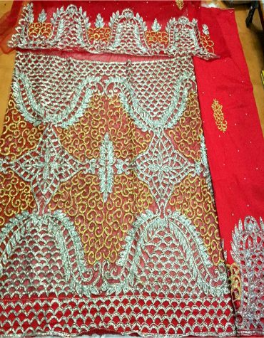 Nigerian traditional Heavy Crystal Stonework Fabric VIP Madam Net George Wrapper