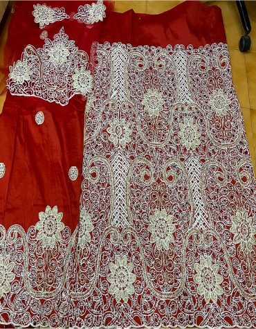 Nigerian Machine Embroidered & Silver Crystal Hand Work Raw Silk George Fabric