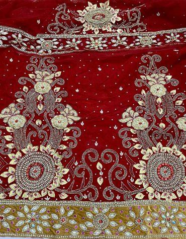 Designer Velvet George Fabric With 2 Yard Nat Lace Blouse Fancy Velvet Wrapper