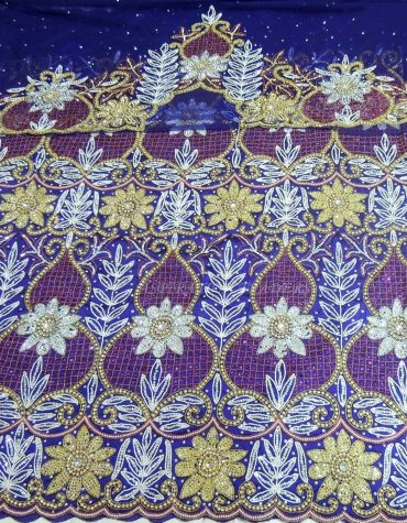 Royal Blue Heavy Beaded George Wrapper