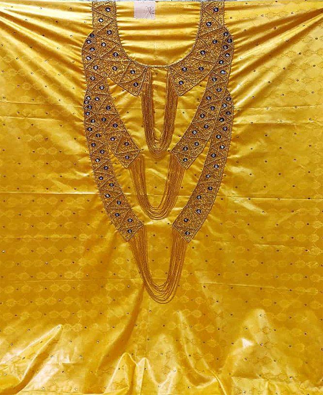 Dubai Grand Boubou Bazin Embroidery Gold Hand Work With Stone