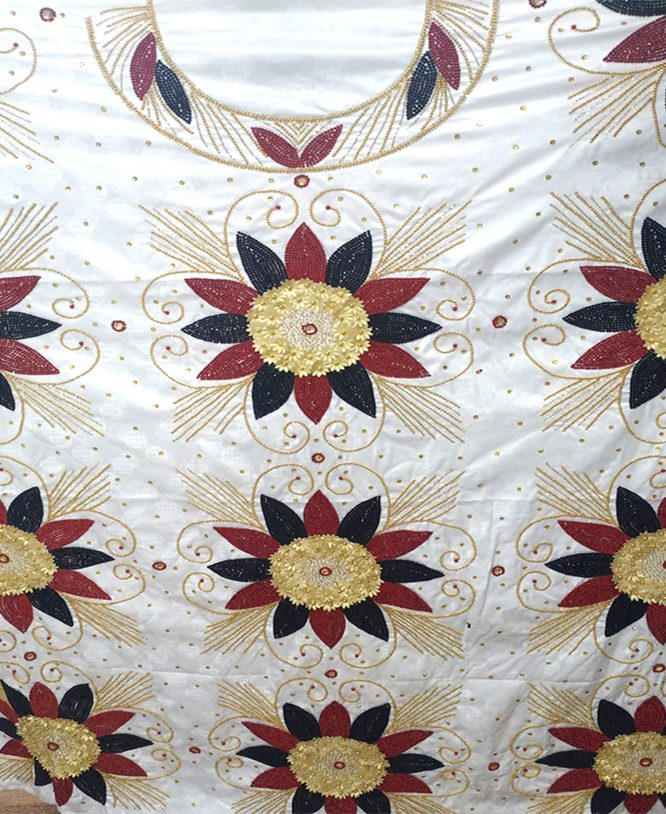 African White Getzner Embroidry & Gold Work Bazin