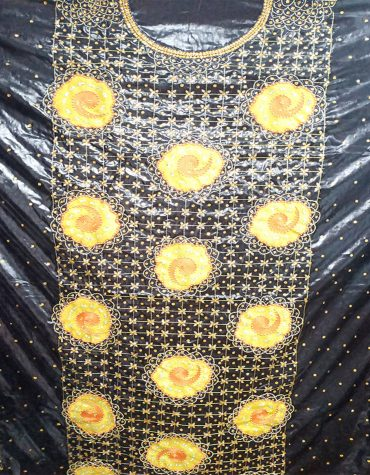 African Black Getzner Embroidry & Stone Work Dress for Women
