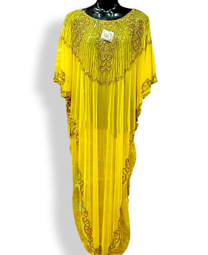 African Online Color Yellow Wear to Work Business Party Dubai Abayas for Women