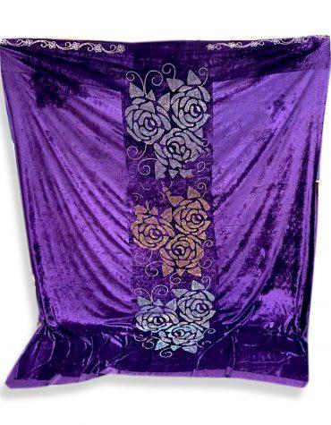 Purple Wedding Piece with Millions of Rhinestone Glitter Velvet Dress Material