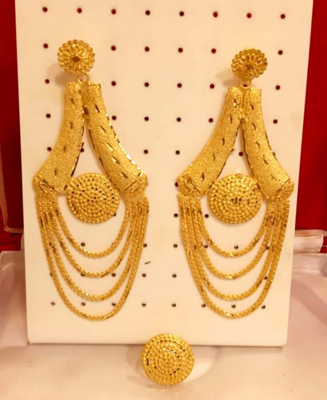 New Best Designer Golden Plated Earring Set