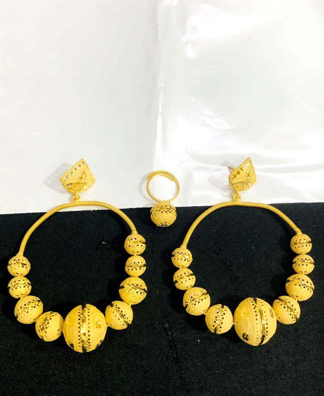 2020 New Designer golden earring long shape wedding party set