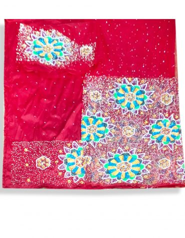 Nigerian Traditional Heavy Crystal Stonework Fabric Red George Wrapper
