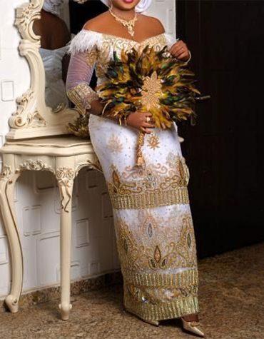 African Taffeta George Rhinestone Beaded Traditional Wedding Bridal fabric