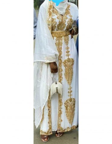 African Bridesmaids Long Abaya Golden Beaded Dubai Kaftan for Women