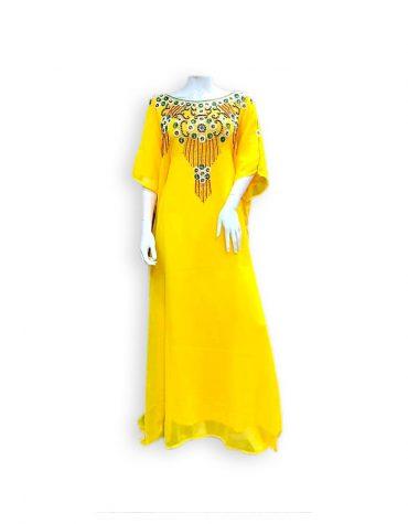 African Embellished Golden Moroccan Abaya Party Robe Dubai Kaftan Dress