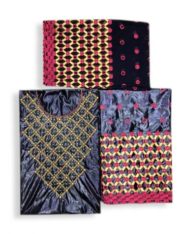African Black Attire Floral Designer of Beige Bazin Perlage Beaded Dress Material