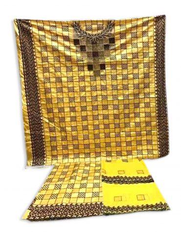 African swiss Yellow mix color beaded african chokar design dress material