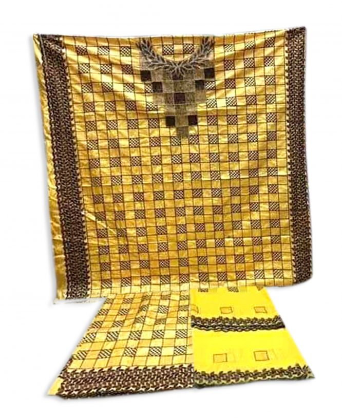 African swiss Yellow mix color beaded african chokar design dress material