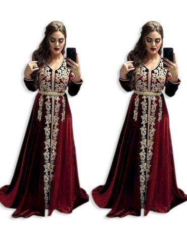 Dubai Kaftan Attire Bridesmaid Emerald Abaya Golden Embroidery Velvet Party Wear