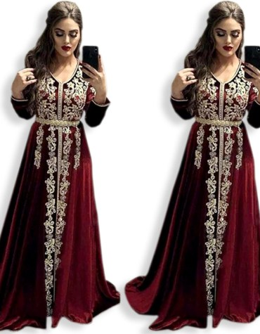 Dubai Kaftan Attire Bridesmaid Emerald Abaya Golden Embroidery Velvet Party Wear