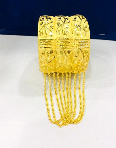 African New Flower Designer Golden Plated Couple Bangle 2 Set