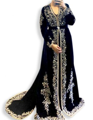 African Embroidery Velvet Party Wear Long Dubai Muslim Wedding Kaftan Dress