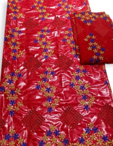African Bazin Riche Red Jacquard New Design 2021 Getzner Embroidry Beads Material
