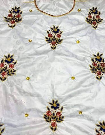 African White Attire Floral Designer of Beige Bazin Beaded Dress Material