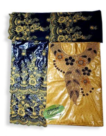 African New Design Gold Embroidery Designer Satin Beaded Dress 2021