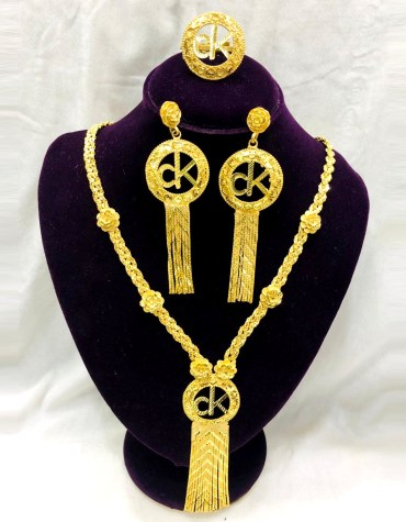 African 2020 Beads Jewelry party Round Neck Golden Plated Necklace Set