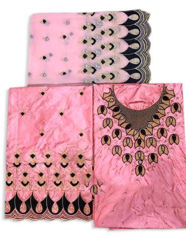 African Swiss Hand Work Designer Satin Beaded Dress Material