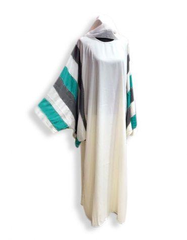 African White Beaded Stone Work Dubai Women Muslim Formal Burqa